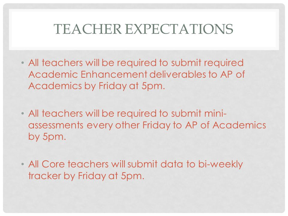 TEACHER EXPECTATIONS All teachers will be required to submit required Academic Enhancement deliverables to AP of Academics by Friday at 5pm.