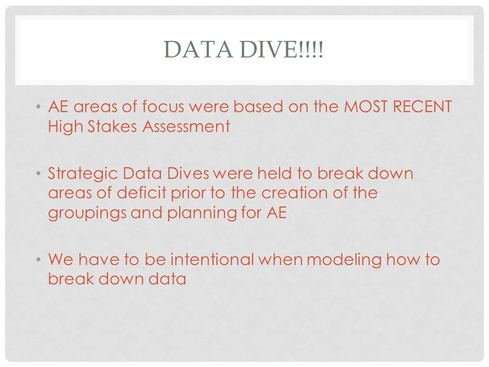 DATA DIVE!!!! AE areas of focus were based on the MOST RECENT High Stakes Assessment Strategic Data Dives were held to break down areas of deficit pri