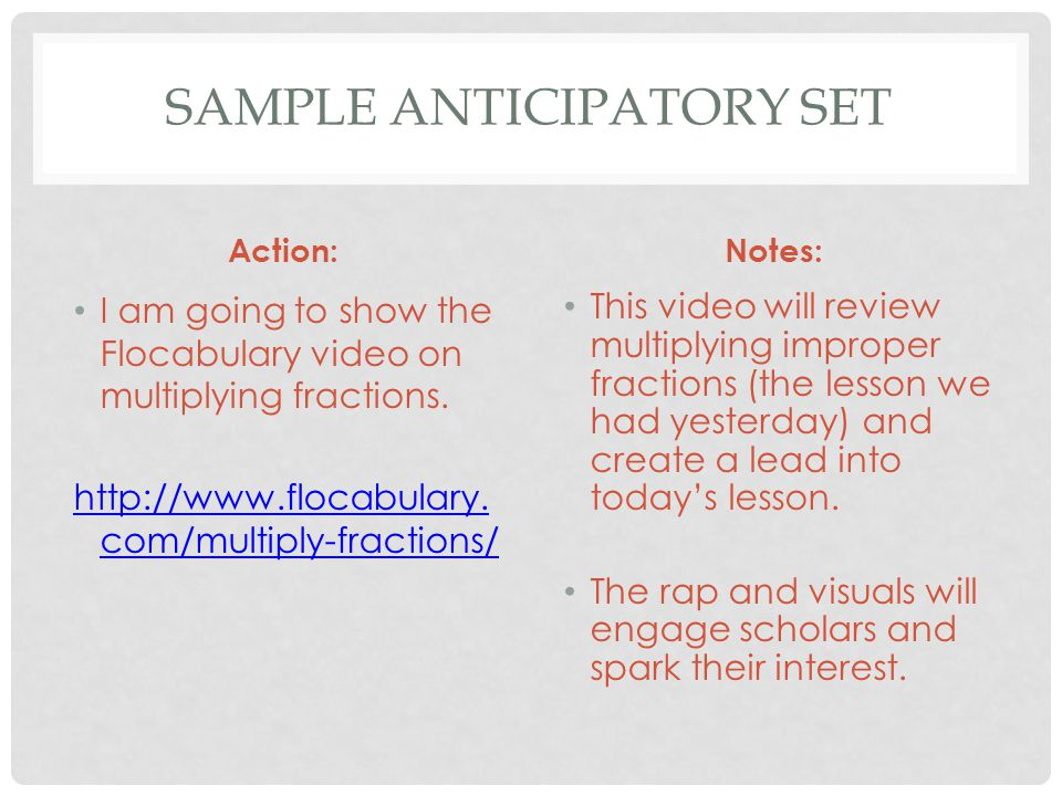 Action:Notes: I am going to show the Flocabulary video on multiplying fractions. http://www.flocabulary. com/multiply-fractions/ This video will revie