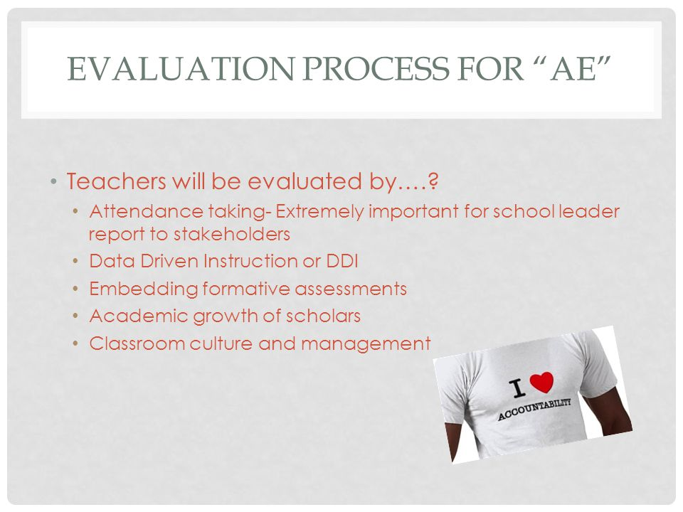 "EVALUATION PROCESS FOR ""AE"" Teachers will be evaluated by….? Attendance taking- Extremely important for school leader report to stakeholders Data Driv"