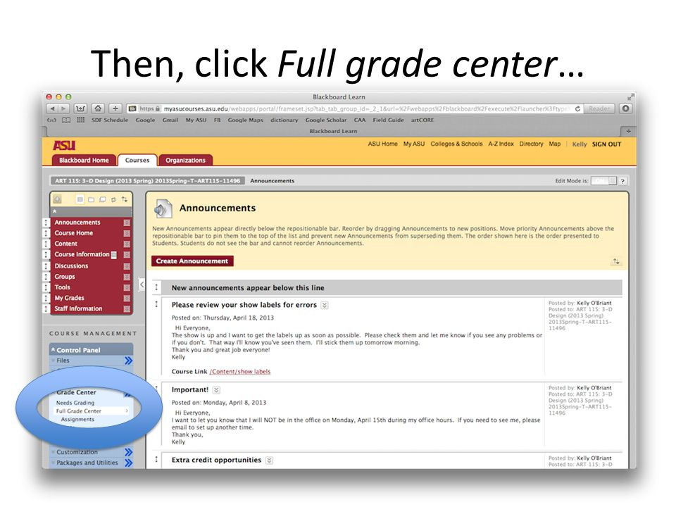 Then, click Full grade center…