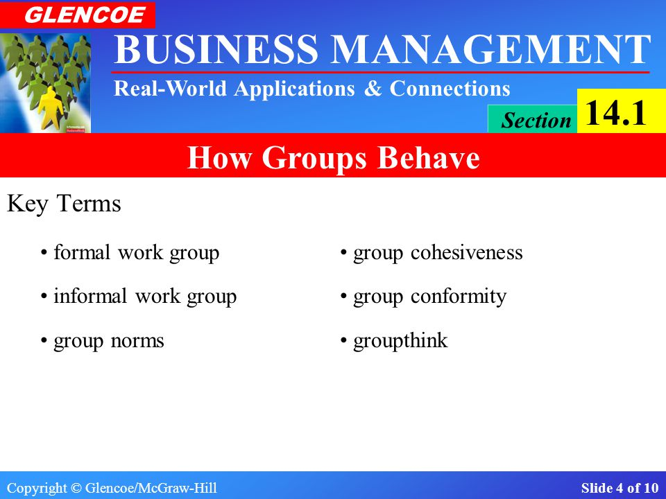 Copyright © Glencoe/McGraw-Hill Slide 4 of 10 BUSINESS MANAGEMENT Real-World Applications & Connections GLENCOE Section 14.1 How Groups Behave Key Terms formal work group group cohesiveness informal work group group conformity group norms groupthink