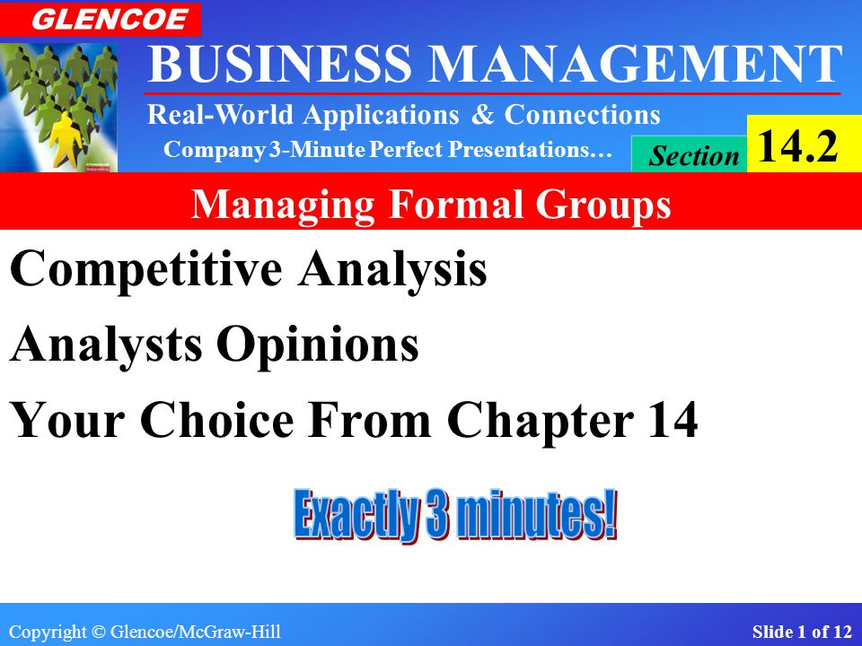 Copyright © Glencoe/McGraw-Hill Slide 1 of 12 BUSINESS MANAGEMENT Real-World Applications & Connections GLENCOE Section 14.2 Managing Formal Groups Company 3-Minute Perfect Presentations… Competitive Analysis Analysts Opinions Your Choice From Chapter 14