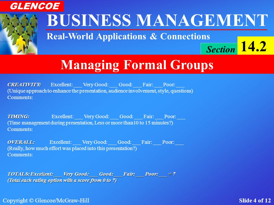 Copyright © Glencoe/McGraw-Hill Slide 3 of 12 BUSINESS MANAGEMENT Real-World Applications & Connections GLENCOE Section 14.2 Managing Formal Groups ORGANIZATION: ORGANIZATION: Excellent: ___ Very Good: ___ Good: ___ Fair: ___ Poor: ___ (Order, provides an understanding, logical, precedes coherently, flow baby…) Comments: PRESENTATION: PRESENTATION: Excellent: ___ Very Good: ___ Good: ___ Fair: ___ Poor: ___ (Poise, body language, eye contact, projection, appearance, movement, tone, expression, etc…) Comments: SLIDES: SLIDES: Excellent: ___ Very Good: ___ Good: ___ Fair: ___ Poor: ___ (Visually attractive, use of appropriate text, images, sight, sound, smells, touch, senses!) Comments: CONTENT: CONTENT: Excellent: ___ Very Good: ___ Good: ___ Fair: ___ Poor: ___ (Appropriate information, clear objectives, adequate data, analysis & summaries, previous accounting knowledge utilized, where all 12 areas covered) Comments: