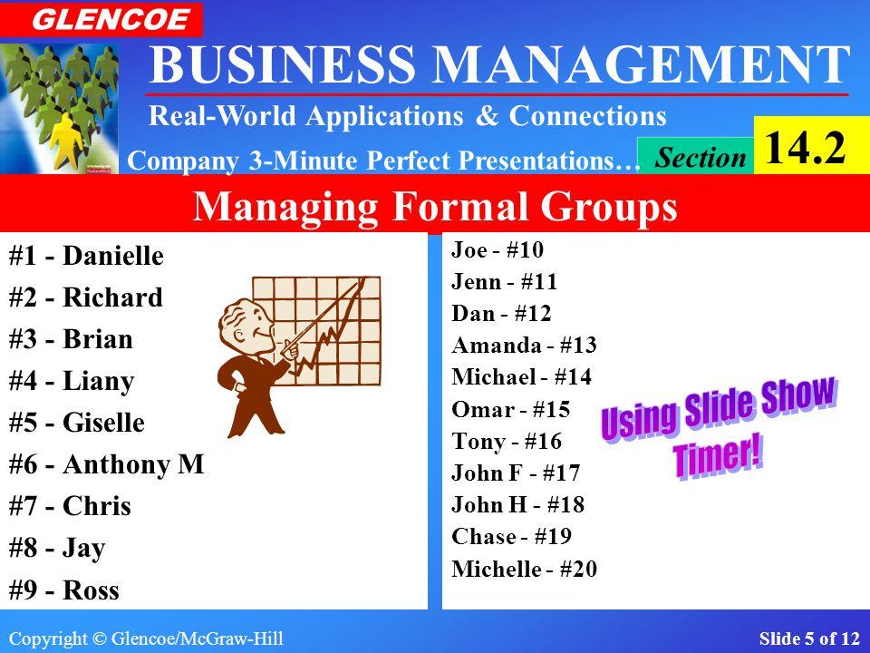 Copyright © Glencoe/McGraw-Hill Slide 5 of 12 BUSINESS MANAGEMENT Real-World Applications & Connections GLENCOE Section 14.2 Managing Formal Groups Company 3-Minute Perfect Presentations… #1 - Danielle #2 - Richard #3 - Brian #4 - Liany #5 - Giselle #6 - Anthony M #7 - Chris #8 - Jay #9 - Ross Joe - #10 Jenn - #11 Dan - #12 Amanda - #13 Michael - #14 Omar - #15 Tony - #16 John F - #17 John H - #18 Chase - #19 Michelle - #20