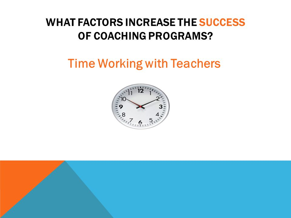 WHAT FACTORS INCREASE THE SUCCESS OF COACHING PROGRAMS? Time Working with Teachers
