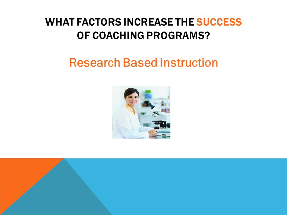 WHAT FACTORS INCREASE THE SUCCESS OF COACHING PROGRAMS? Research Based Instruction