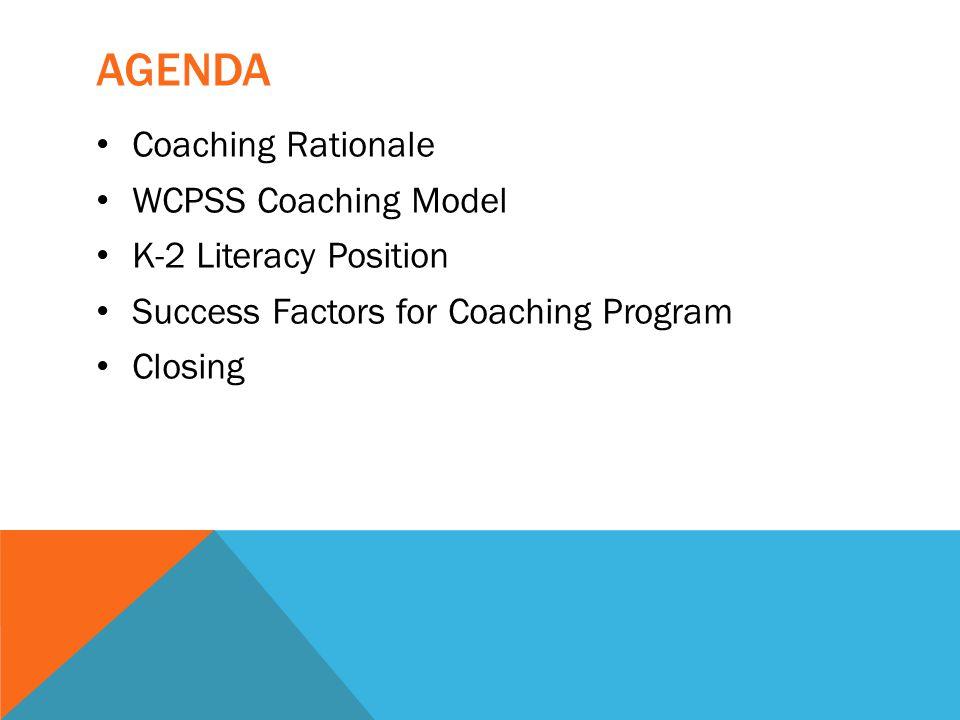 AGENDA Coaching Rationale WCPSS Coaching Model K-2 Literacy Position Success Factors for Coaching Program Closing