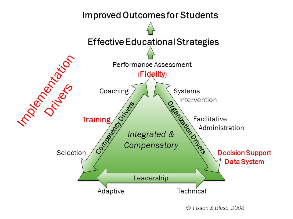 © Fixsen & Blase, 2008 Performance Assessment ( Fidelity ) Coaching Training Selection Systems Intervention Facilitative Administration Decision Suppo