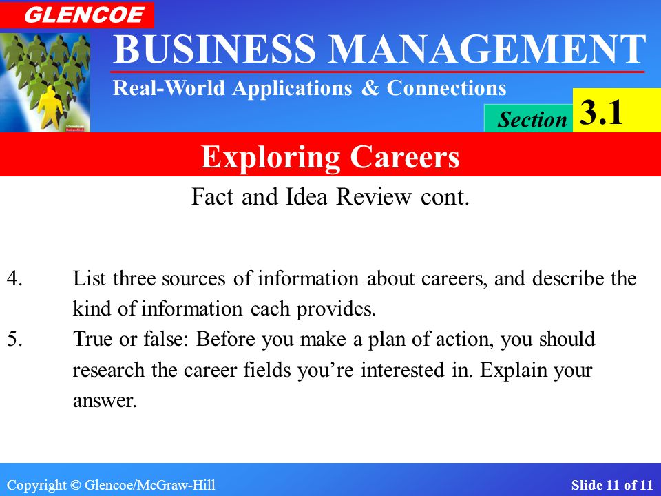 Copyright © Glencoe/McGraw-Hill Slide 10 of 11 BUSINESS MANAGEMENT Real-World Applications & Connections GLENCOE Section 3.1 Exploring Careers Fact and Idea Review 1.What is the difference between a career and a job.