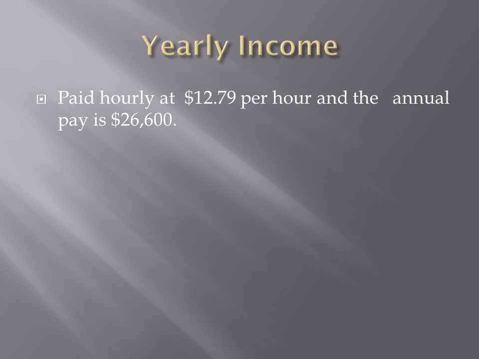 Paid hourly at $12.79 per hour and the annual pay is $26,600.