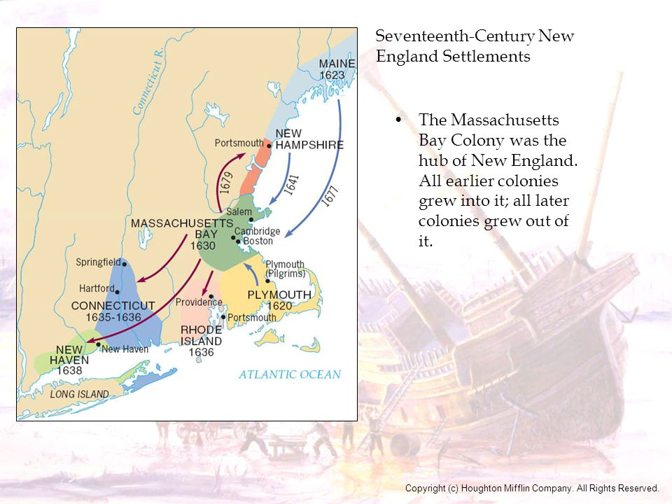 Seventeenth-Century New England Settlements The Massachusetts Bay Colony was the hub of New England. All earlier colonies grew into it; all later colo