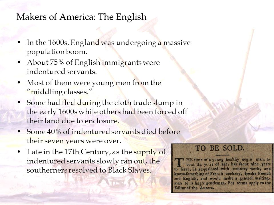 Makers of America: The English In the 1600s, England was undergoing a massive population boom. About 75% of English immigrants were indentured servant