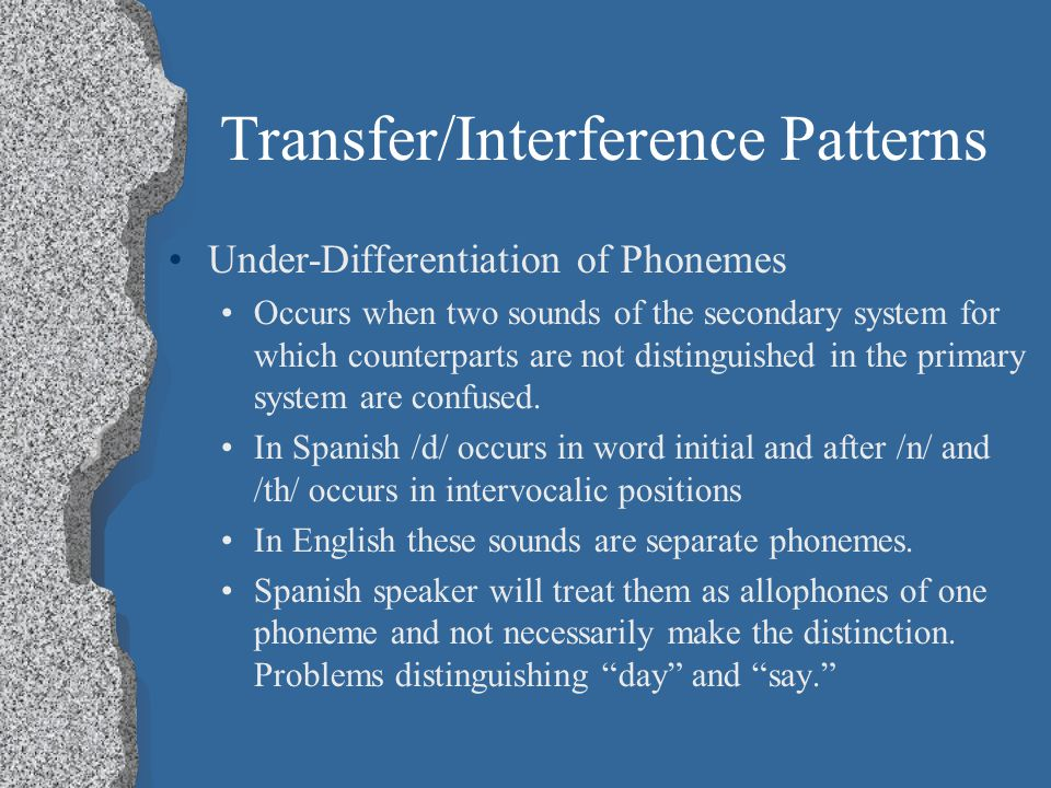Transfer/Interference Patterns Under-Differentiation of Phonemes Over-Differentiation of Phonemes Reinterpretation of Distinctions Phone Substitution