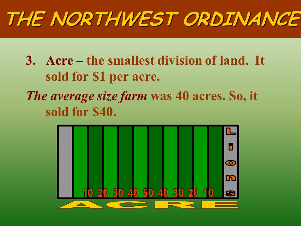 THE NORTHWEST ORDINANCE 2.Section – 36 sections in a township. It is one square mile or 640 acres.