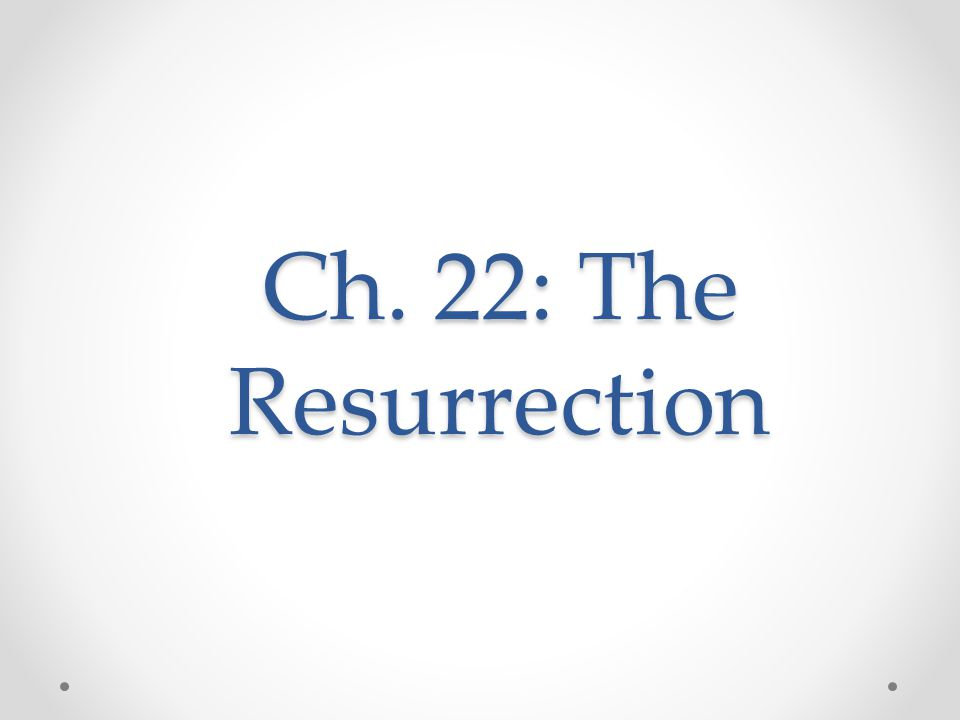 Ch. 22: The Resurrection