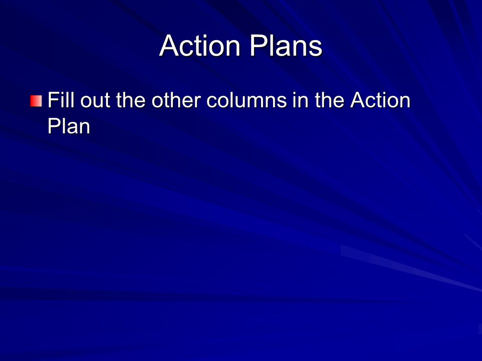 Action Plans Fill out the other columns in the Action Plan