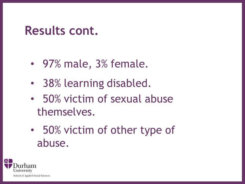 ∂ Results cont. 97% male, 3% female. 38% learning disabled. 50% victim of sexual abuse themselves. 50% victim of other type of abuse.
