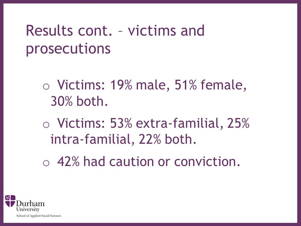 ∂ Results cont. – victims and prosecutions o Victims: 19% male, 51% female, 30% both.