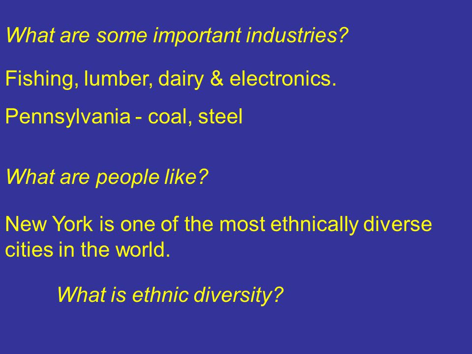 What are some important industries. Fishing, lumber, dairy & electronics.