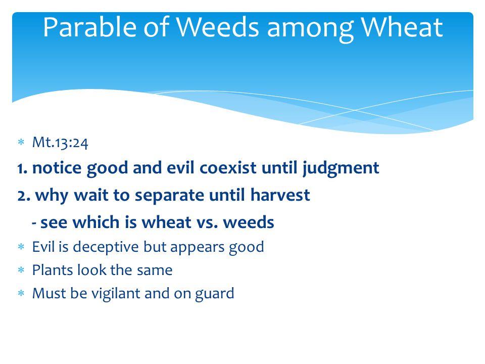  Mt.13:24 1. notice good and evil coexist until judgment 2.