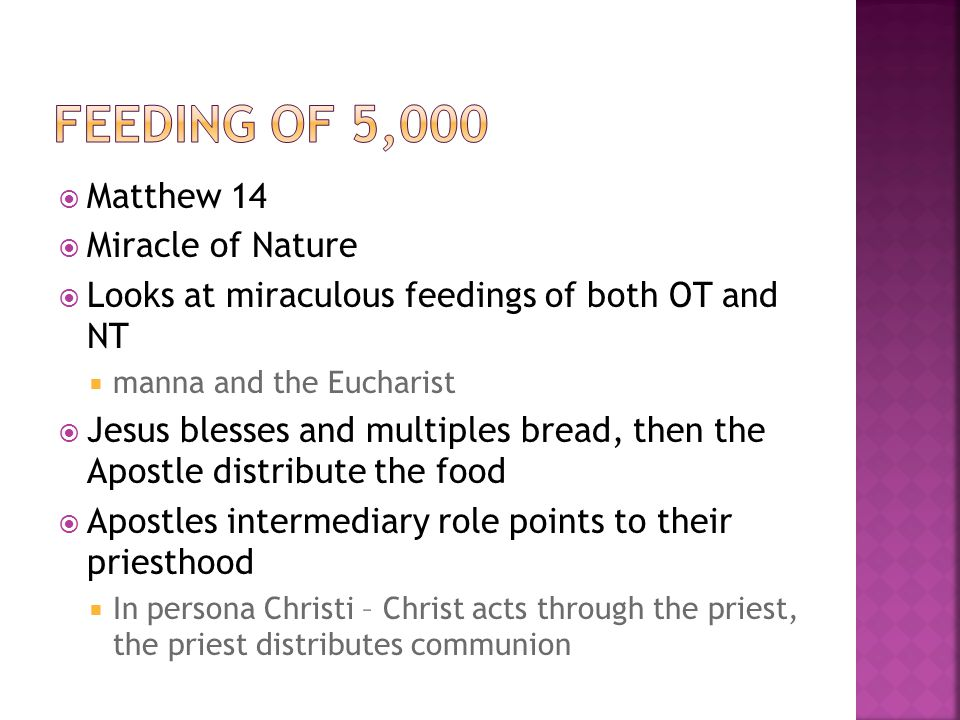  Matthew 14  Miracle of Nature  Looks at miraculous feedings of both OT and NT  manna and the Eucharist  Jesus blesses and multiples bread, then the Apostle distribute the food  Apostles intermediary role points to their priesthood  In persona Christi – Christ acts through the priest, the priest distributes communion
