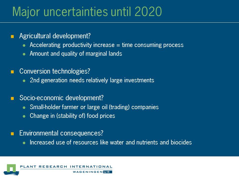 Major uncertainties until 2020 Agricultural development.