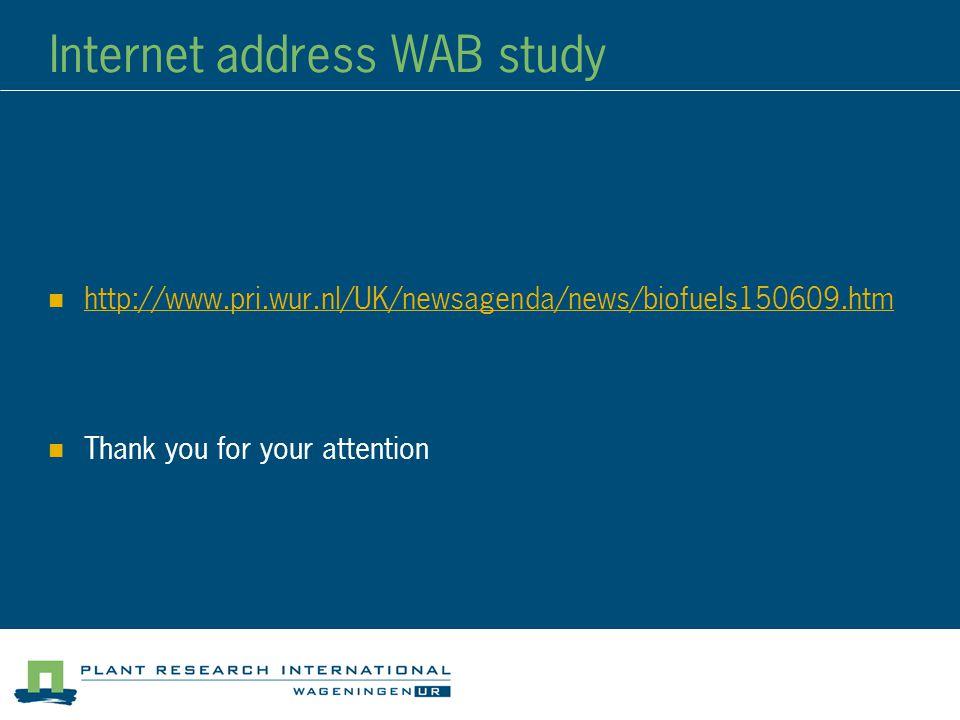 Internet address WAB study http://www.pri.wur.nl/UK/newsagenda/news/biofuels150609.ht m http://www.pri.wur.nl/UK/newsagenda/news/biofuels150609.ht m Thank you for your attention