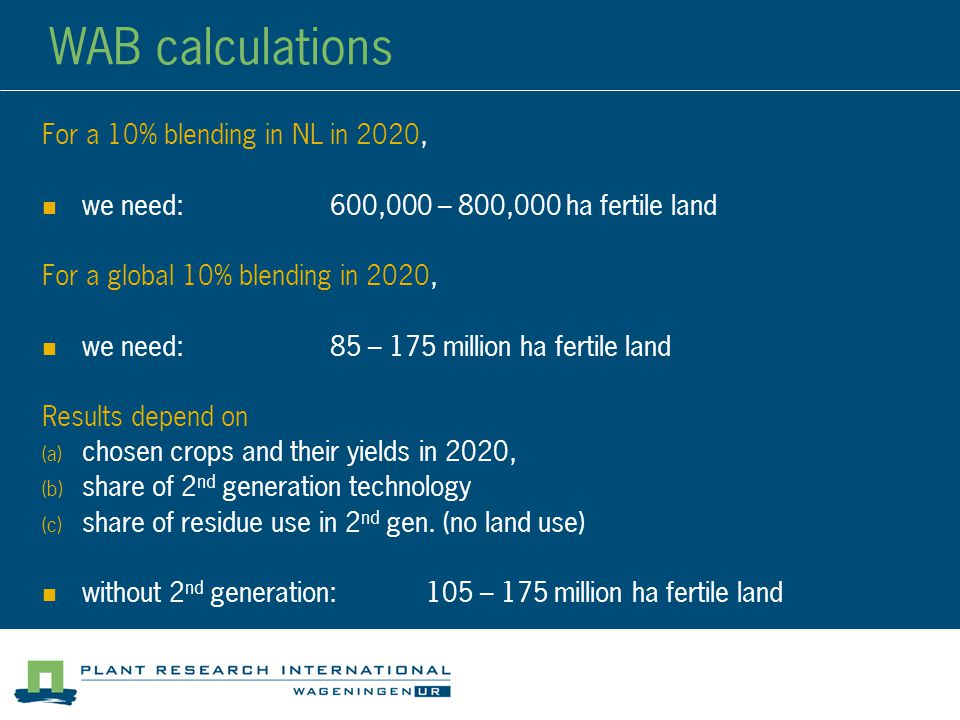 WAB calculations For a 10% blending in NL in 2020, we need:600,000 – 800,000 ha fertile land For a global 10% blending in 2020, we need:85 – 175 million ha fertile land Results depend on  chosen crops and their yields in 2020,  share of 2 nd generation technology  share of residue use in 2 nd gen.