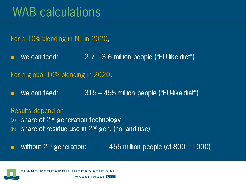 WAB calculations For a 10% blending in NL in 2020, we can feed:2.7 – 3.6 million people ( EU-like diet ) For a global 10% blending in 2020, we can feed:315 – 455 million people ( EU-like diet ) Results depend on  share of 2 nd generation technology  share of residue use in 2 nd gen.