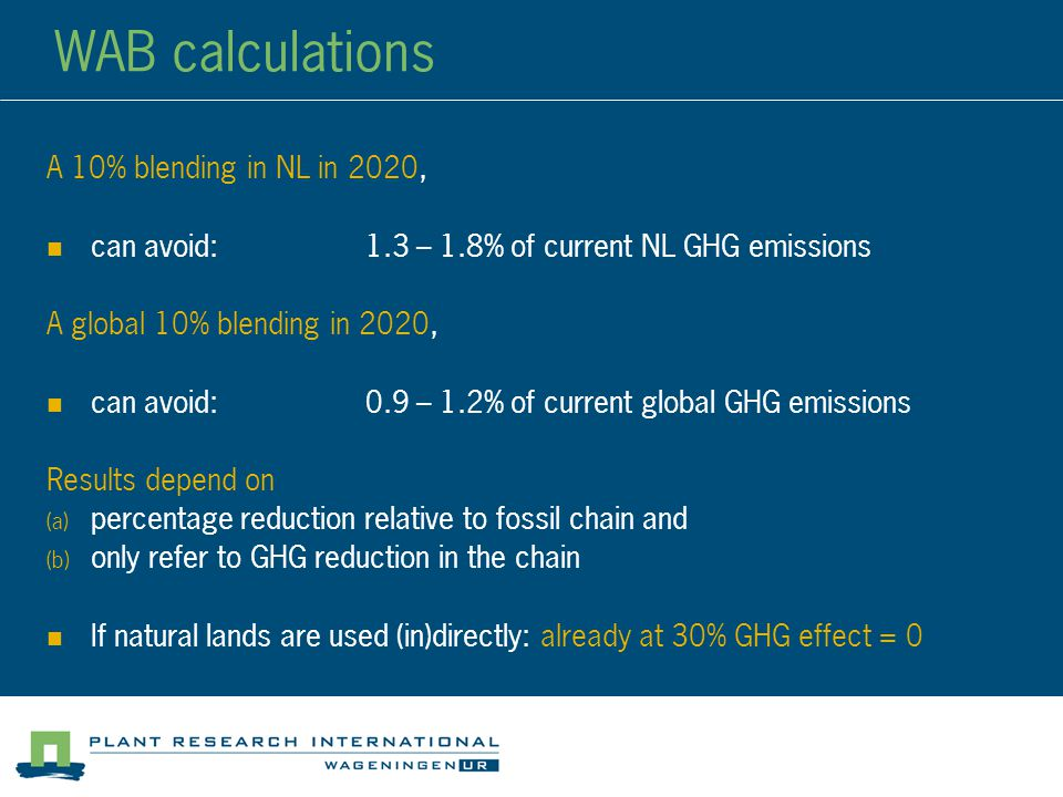 WAB calculations A 10% blending in NL in 2020, can avoid:1.3 – 1.8% of current NL GHG emissions A global 10% blending in 2020, can avoid:0.9 – 1.2% of current global GHG emissions Results depend on  percentage reduction relative to fossil chain and  only refer to GHG reduction in the chain If natural lands are used (in)directly: already at 30% GHG effect = 0