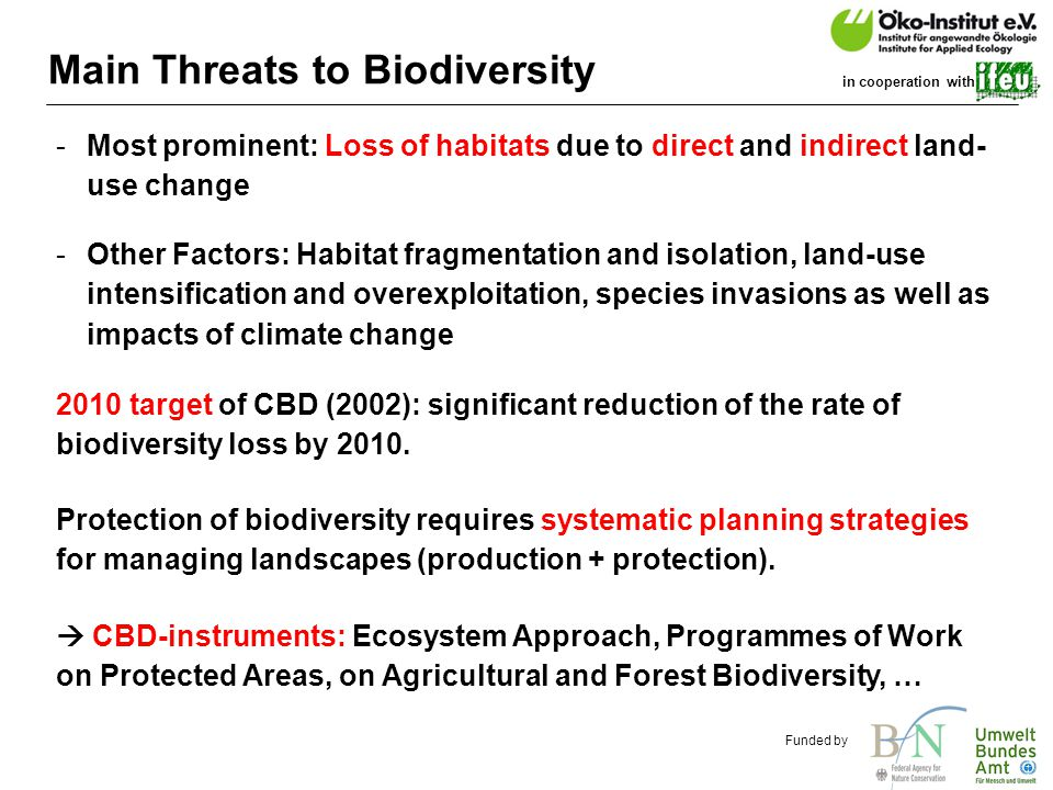 o.de Funded by in cooperation with Main Threats to Biodiversity -Most prominent: Loss of habitats due to direct and indirect land- use change -Other Factors: Habitat fragmentation and isolation, land-use intensification and overexploitation, species invasions as well as impacts of climate change Protection of biodiversity requires systematic planning strategies for managing landscapes (production + protection).