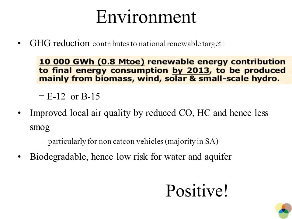 21 Environment GHG reduction contributes to national renewable target : = E-12 or B-15 Improved local air quality by reduced CO, HC and hence less smog –particularly for non catcon vehicles (majority in SA) Biodegradable, hence low risk for water and aquifer Positive!