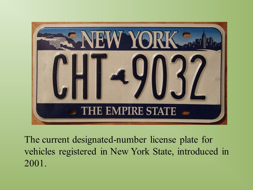 The current designated-number license plate for vehicles registered in New York State, introduced in 2001.
