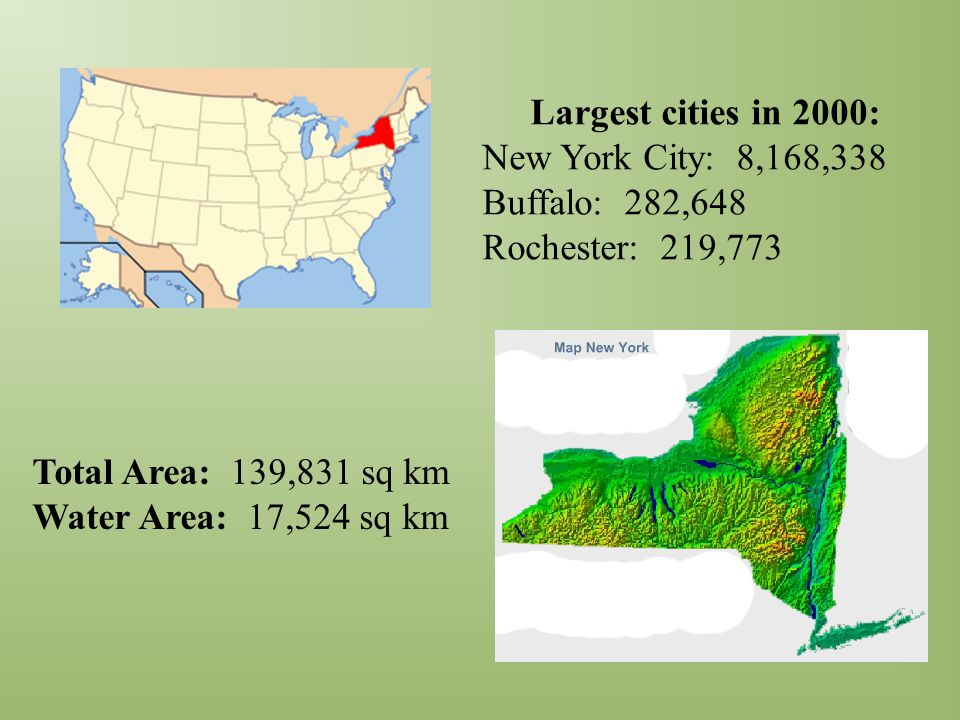 Total Area: 139,831 sq km Water Area: 17,524 sq km Largest cities in 2000: New York City: 8,168,338 Buffalo: 282,648 Rochester: 219,773