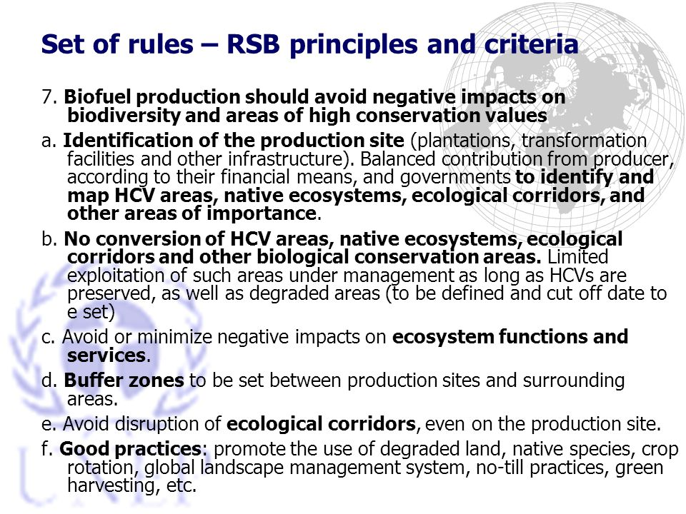 Set of rules – RSB principles and criteria 7.