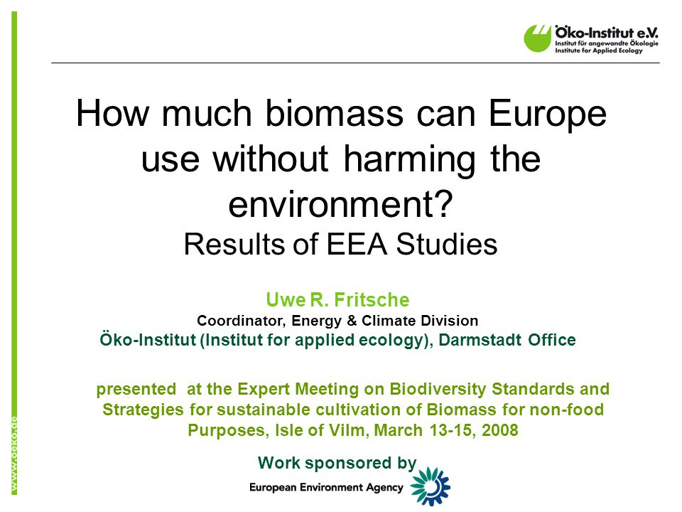 Total Bio-Potential EU-25 0 50 100 150 200 250 300 350 201020202030 Primary biomass potential, Mtoe Additional agricultural potential (DE, FR) Additional forest potential Agriculture Forestry Waste Effect of increasing energy & carbon prices
