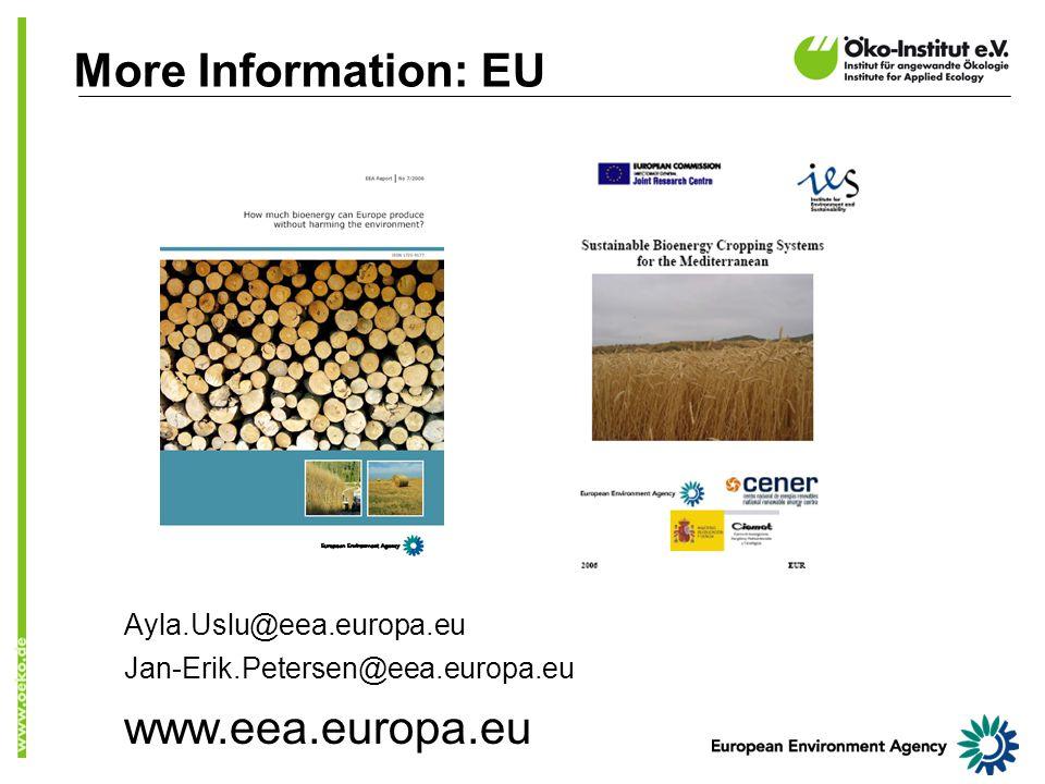 More Information: EU Ayla.Uslu@eea.europa.eu Jan-Erik.Petersen@eea.europa.eu www.eea.europa.eu
