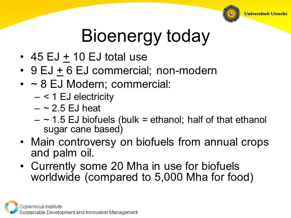 Copernicus Institute Sustainable Development and Innovation Management Bioenergy today 45 EJ + 10 EJ total use 9 EJ + 6 EJ commercial; non-modern ~ 8 EJ Modern; commercial: –< 1 EJ electricity –~ 2.5 EJ heat –~ 1.5 EJ biofuels (bulk = ethanol; half of that ethanol sugar cane based) Main controversy on biofuels from annual crops and palm oil.
