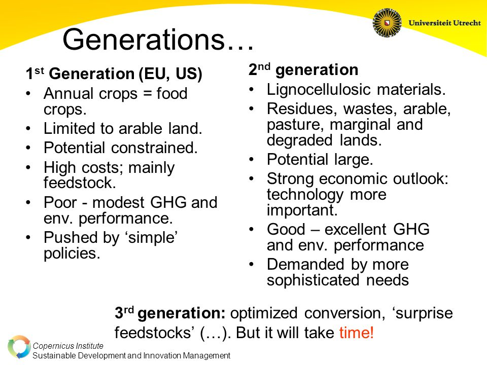 Copernicus Institute Sustainable Development and Innovation Management Generations… 1 st Generation (EU, US) Annual crops = food crops.