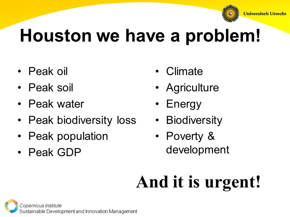 Copernicus Institute Sustainable Development and Innovation Management Houston we have a problem.