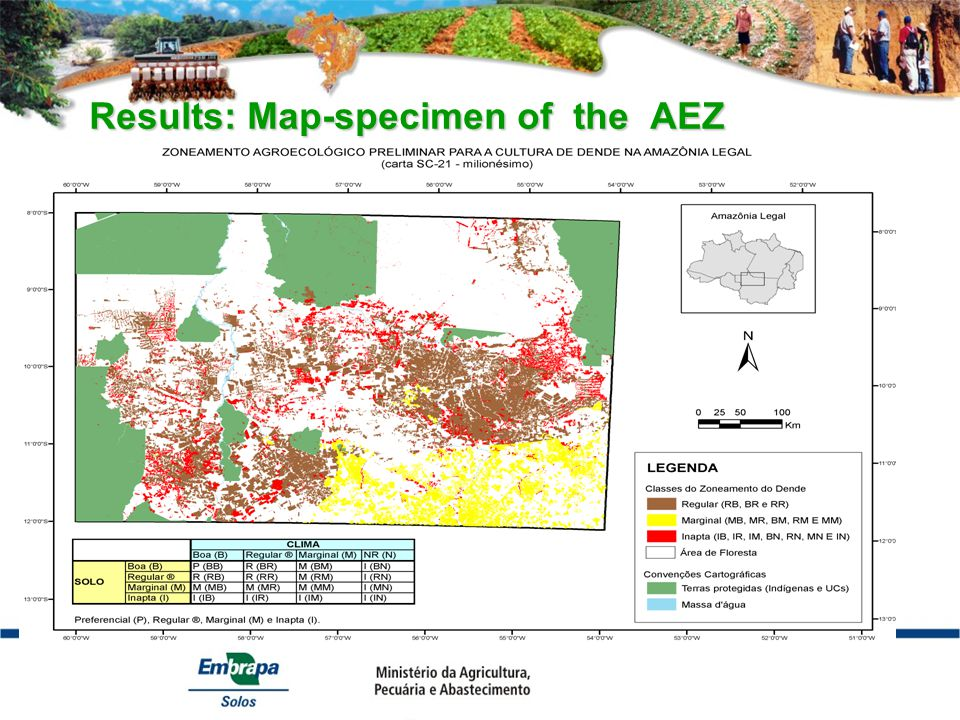 Results: Map-specimen of the AEZ