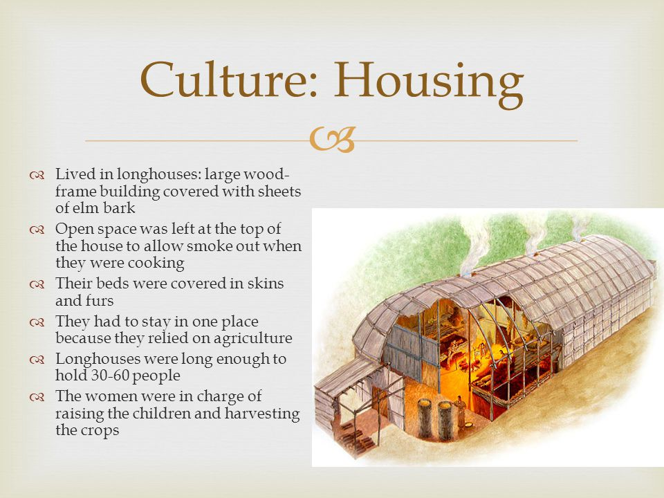   Lived in longhouses: large wood- frame building covered with sheets of elm bark  Open space was left at the top of the house to allow smoke out when they were cooking  Their beds were covered in skins and furs  They had to stay in one place because they relied on agriculture  Longhouses were long enough to hold 30-60 people  The women were in charge of raising the children and harvesting the crops Culture: Housing