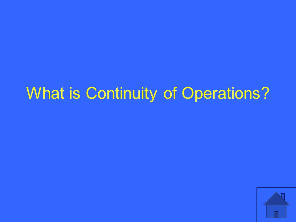 What is Continuity of Operations