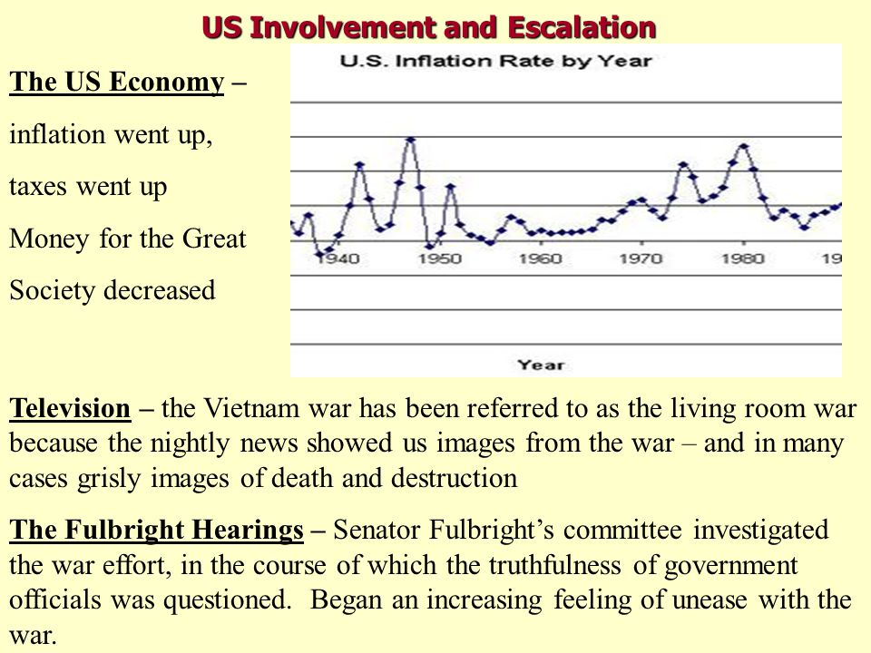US Involvement and Escalation The US Economy – inflation went up, taxes went up Money for the Great Society decreased Television – the Vietnam war has