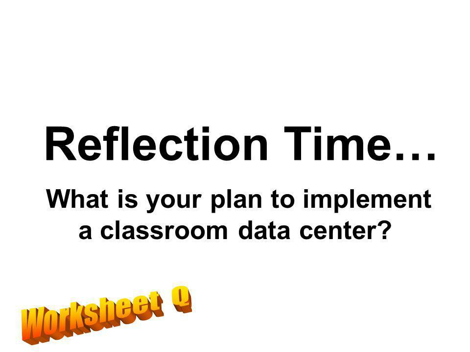Reflection Time… What is your plan to implement a classroom data center?