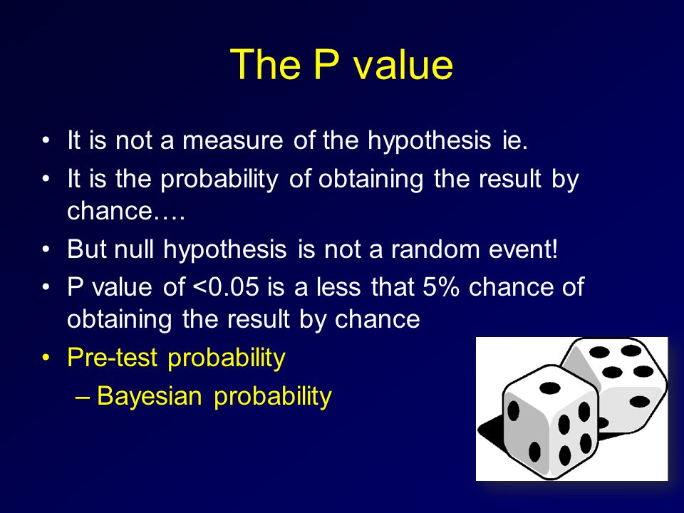 The P value It is not a measure of the hypothesis ie.