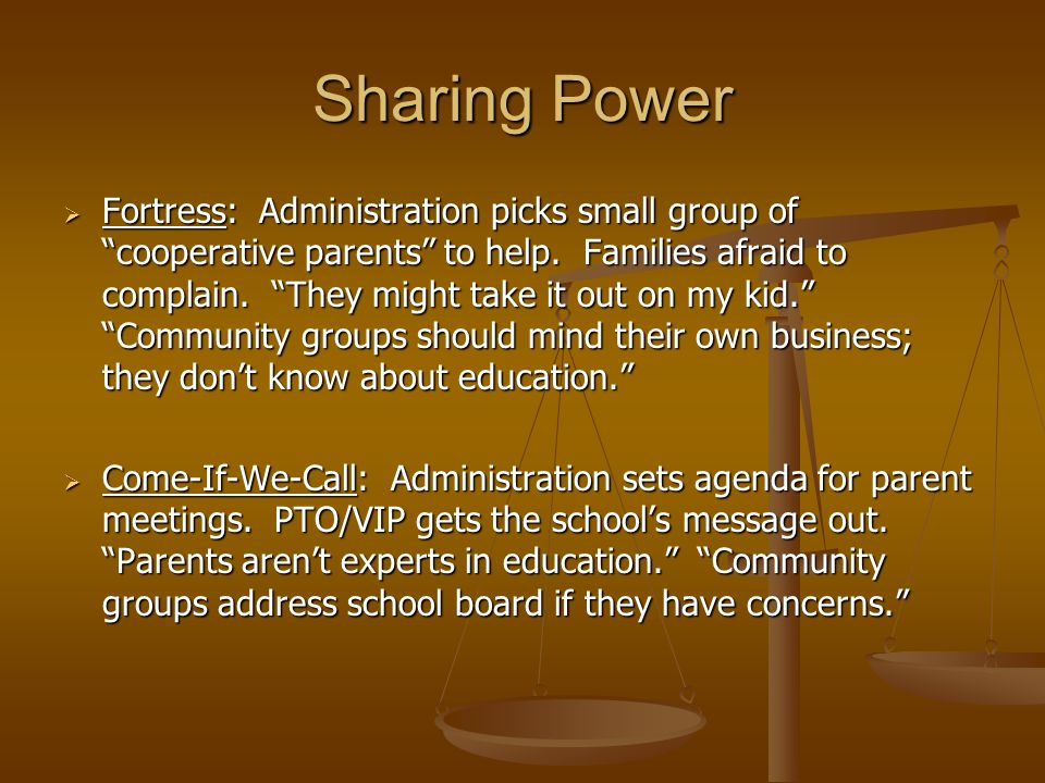 Sharing Power  Fortress: Administration picks small group of cooperative parents to help.