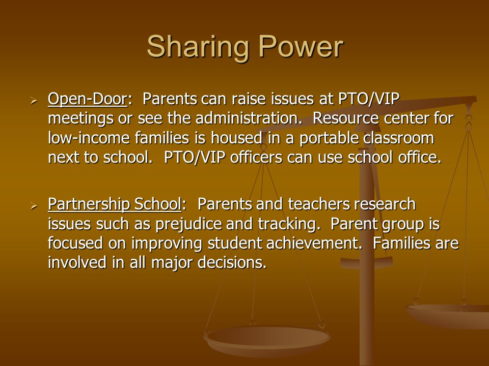 Sharing Power  Open-Door: Parents can raise issues at PTO/VIP meetings or see the administration.