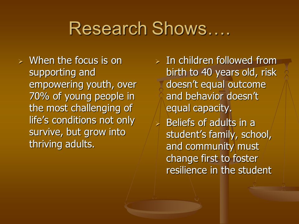 Research Shows….